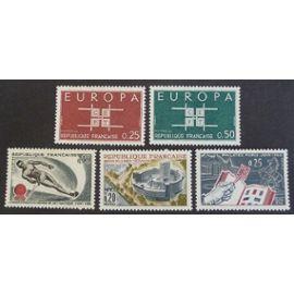 France neuf y et t N° 1395 1396 1397 1402 1403 lot de 5 timbres de 1963 cote 1.90