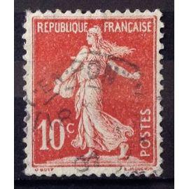 Semeuse 10c rouge Avec Sol (Joli n° 134) Obl - France Année 1906 - N26492