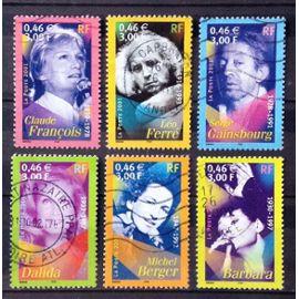 Série Célébrités Chanson 2001 - 3391 Claude François + 3392 Léo Ferré + 3393 Gainsbourg + 3394 Dalida + 3395 Michel Berger + 3396 Barbara Obl - Cote 3,00€ - France Année 2001 - N27208
