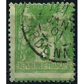 france 1876, beau classique yvert 64, sage 5c. vert type 1, bel enjambement, oblitéré beau cachet rond des ardennes, TBE