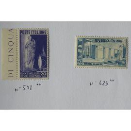 Deux timbres Italie neufs ** 1951/1952