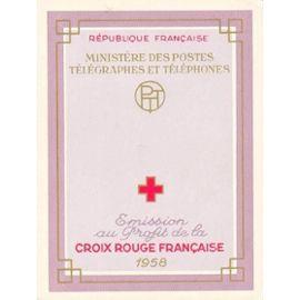Carnet croix rouge française de 8 timbres neufs - 1958 -