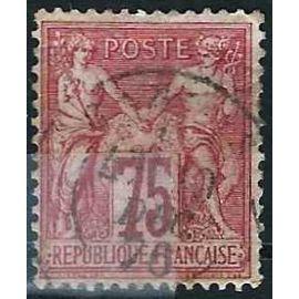 france 1876, beau classique yvert 71, sage type 1, 75c. carmin, oblitéré, TBE