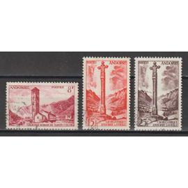 andorre français, 1955-1958, paysages de la principauté, n°143 + 146 + 149, oblitérés.
