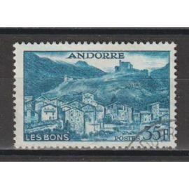 andorre français, 1955-1958, paysages de la principauté, n°150A, oblitéré.