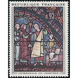 france 1963, Les marchands de fourrure, vitrail de la cathédrale de Chartres, yv. 1399, neuf** luxe