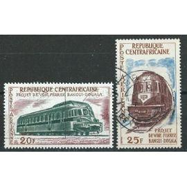 Poste aérienne Centrafrique Projet de voie ferrée Bangui-Douala PA 1963 20 et 25F oblitérés n° 12 et 13