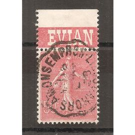 199a (1924) Semeuse 50c rouge avec bande publicitaire oblitérée Cachet de Convoyeur (cote 1,85e) (6719)
