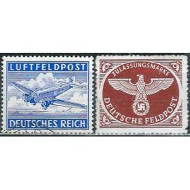 Allemagne, 3ème Reich, 1942, Timbres De Franchise Militaire, Yv. 1 Grand Aigle Avec Croix Gammée, neuf** luxe, Yv. 2 - Franchise Militaire - Poste Aérienne, oblitéré.