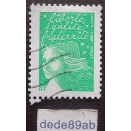 france.. marianne de luquet vert . timbre pour écopli à valeur permanente 2002 . oblitéré used stamp.