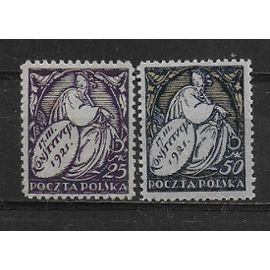 POLOGNE 1921 : Commémoration de la promulgation de la Constitution - Série de 2 timbres NEUFS *