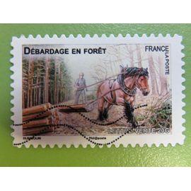 Timbre France YT 824 AA - Faune - Chevaux de trait de nos régions - Débardage en forêt - 2013