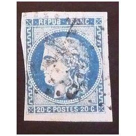 France oblitéré y et t N° 46 B de 1871 type ceres du siège de Paris cote 25.00