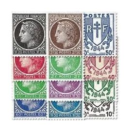 armoiries chaînes brisées-type cérès de mazelin série complète année 1945 n° 670 671 672 673 674 675 676 677 678 679 680 681 yvert et tellier luxe