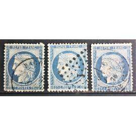 Timbres oblitérés du type Cérès : n°60 A,n°60 B et n°60 C.