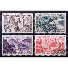 Série Vues Aériennes Grandes Villes - N° 24 25 26 27 Obl - Cote 21,50€ - France Année 1949 - N26877
