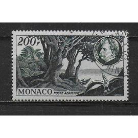 MONACO POSTE AERIENNE 1955 : 80è anniversaire du docteur Albert Schweitzer : Les bords du fleuve Ogooué - Timbre 200 F. vert-noir et bleu oblitéré cote 44 €