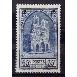 Cathédrale de Reims 65c+35c (Superbe n° 399) Neuf* - Cote 10,00€ - France Année 1938 - N27796