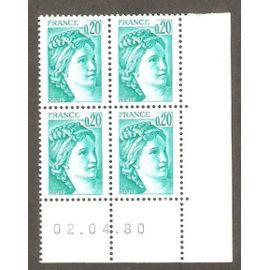 coin daté sabine 0,20 f vert - 1980
