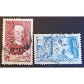 france oblitéré y et t N° 335 336 lot de 2 timbres de 1937 cote 2.85