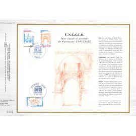france document philatélique cef N°614 TIMBRE de service N° 68 69 70 unesco sites classés et protégés du patrimoine universel 1er jour paris 12/12/1981