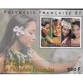 POLYNESIE FRANCAISE 2000 : Les Beautés de Polynésie Française : Visages de jeunes vahinés - Bloc-feuillet NEUF ** de 500 F. cote 13,50 €