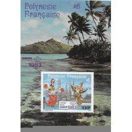 """POLYNESIE FRANCAISE 1983 : """"Bangkok 1983"""" : Exposition philatélique internationale : Danseuses polynésiennes et thaïe, tiki polynésien et pagodes de Bangkok - Bloc-feuillet d"""