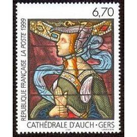 Timbre france 1999 - série art - vitrail de la cathédrale d