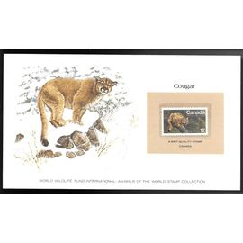 CANADA 1977 SUPERBE CARTE COLECTION WWF COUGAR avec timbre N° 624 neuf **sans charnière