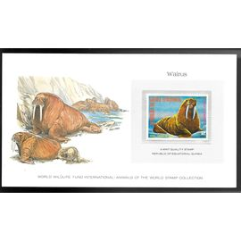 GUINEE EQUATORIALE 1977 SUPERBE CARTE COLECTION WWF WARLUS MORSE avec timbre N° 108-D neuf **sans charnière