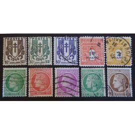 france oblitéré y et t N° 670 et plus lot de 10 timbres de 1945 cote 1.50