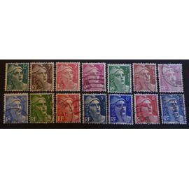france oblitéré y et t N° 713 et plus lot de 14 timbres de 1945 cote 4.10