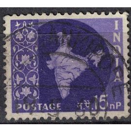 Inde 1958 Oblitéré Used Map of India Carte Mappe de l