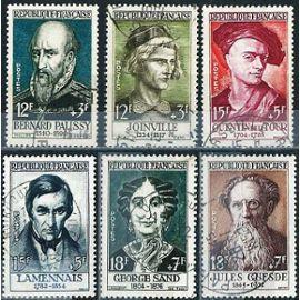 france 1957, belle série complète célébrités, timbres yvert 1108 joinville, 1109 palissy, 1110 de la tour, 1111 lamenais, 1112 george sans, 1113 jules guesde, oblitérés, TBE