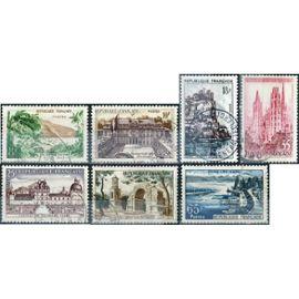 france 1957, belle série touristique complète, timbres 1125 la guadeloupe, 1126 palais de l