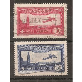 PA 5 et 6 (1930) Postes Aériennes Marseille 1f50 rouge et bleu Oblitérées (cote 6,9e) (6730)