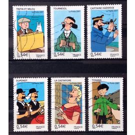 Série Tintin - Les Voyages 2007 - N° 4051 Tintin & Milou + 4052 Tournesol + 4053 Haddock + 4054 Dupond Dupont + 4055 Castafiore + 4056 Tch Obl - Cote 3,60€ - France Année 2007 - N27146