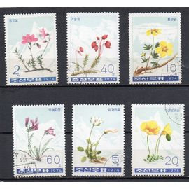 Corée- Série de 6 timbres oblitérés- Fleurs des montagnes