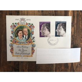 Enveloppe 1er jour Silver Wedding of The Queen & the Duke of Edinburgh 1972 (2 timbres différents)