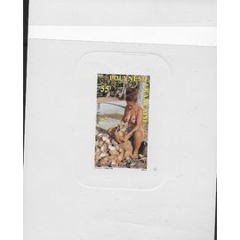 POLYNESIE 1989 : Polynésienne décortiquant des noix de coco - Bloc-feuillet cartonné de 1 timbre à 55 F. NEUF non-dentelé - RARE cote 160 €