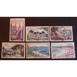 France oblitéré Y et T N° 976 à 981 lot de 6 timbres de 1954 (série complète) cote 2.50