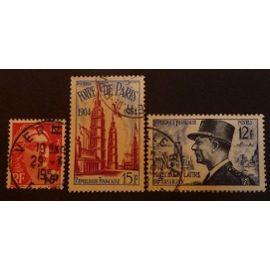 France oblitéré Y et T N° 968 975 982 lot de 3 timbres de 1954 cote 2.75