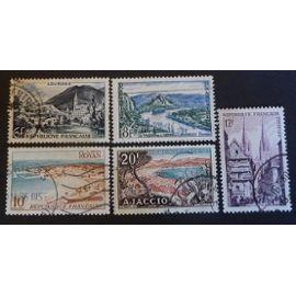 France oblitéré Y et T N° 976 977 978 979 981 lot de 5 timbres de 1954 cote 1.40
