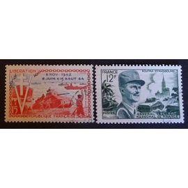 France oblitéré Y et T N° 983 984 lot de 2 timbres de 1954 cote 4.00