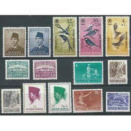 Indonésie lot de 14 timbres neufs. années 1951 à 1966