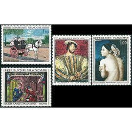 France 1967 - très belle série complète neuve** luxe tableaux, 1517 Rousseau - Le douanier, 1518 Portrait de françois 1er, 1530 Ingres - la baigneuse, 1531 Vitrail église sainte Madeleine de Troyes.