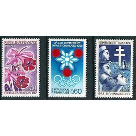 france 1967, très beaux timbres neufs** luxe yvert 1520 JO de 1968 à grenoble, 1528 orchidées aux floralies d