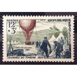 Journée Timbre 1955 - Ballon Poste 12f+3f (Impeccable n° 1018) Neuf** Luxe (= Sans Trace de Charnière) - Cote 6,00€ - France Année 1955 - N26449