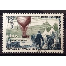 Journée Timbre 1955 - Ballon Poste 12f+3f (Superbe n° 1018) Obl - Cote 5,50€ - France Année 1955 - N26451