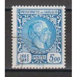 monaco, 1985, centenaire du 1er timbre de monaco, n°1506 (provenant du bloc n°33), oblitéré.